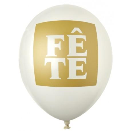 Ballon Fête ivoire or 23 cm les 8