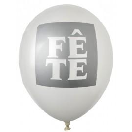 Ballon Fête blanc argent 23 cm les 8
