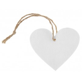 Etiquettes coeur en bois blanc avec cordon les 4