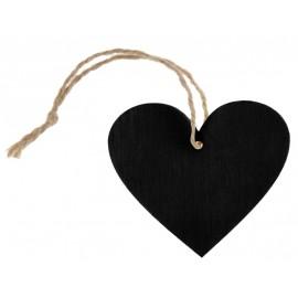 Etiquettes coeur ardoise en bois avec cordon les 4