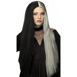 Perruque Gothique Noire et Grise femme