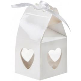 Boîtes à dragées coeur blanc les 4