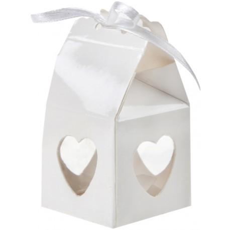 Boîte à dragées coeur blanc les 4