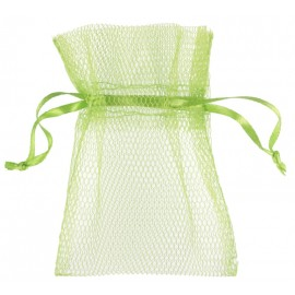 Sachets à dragées en tulle vert anis les 10