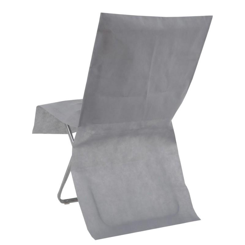 Housse de chaise grise intiss opaque les 4 housses de for Housse de chaise plastique