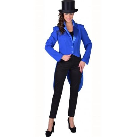 Déguisement queue de pie cabaret bleu cobalt femme luxe