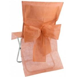 Housse de chaise intissé corail avec noeud les 10