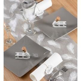 Chemin de table plumes en toile de jute gris blanc 3 M