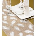 Chemin de table plumes en toile de jute naturel blanc 3 M