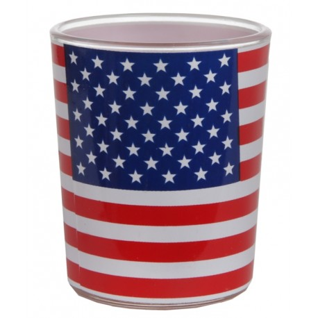 Photophore drapeau américain USA en verre les 12
