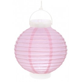 Lampion lumineux boule papier rose 20 cm