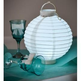 Lampion lumineux boule papier bleu ciel 20 cm