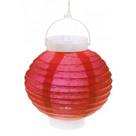 Lampion lumineux boule papier rouge 20 cm