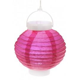 Lampion lumineux boule papier fuchsia 20 cm