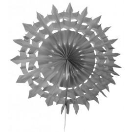 Eventail dentelle papier gris 20 cm les 2
