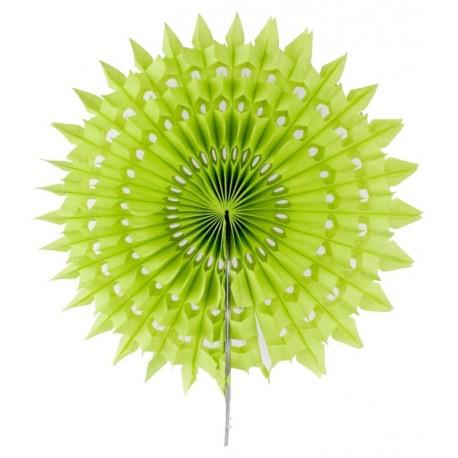 Eventail dentelle papier vert anis 20 cm les 2