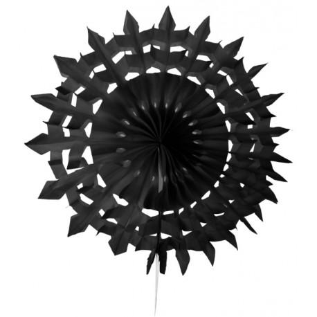 Eventail dentelle papier noir 20 cm les 2