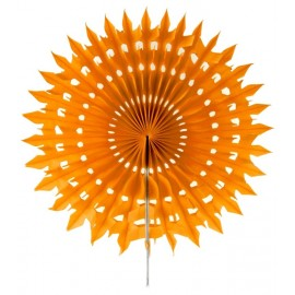 Eventail dentelle papier orange 20 cm les 2