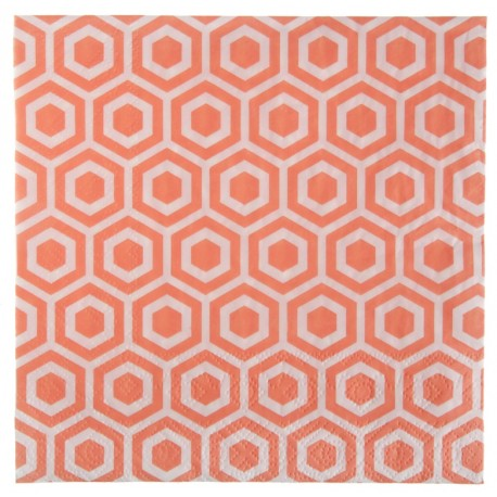 Serviette de table vintage corail papier les 20