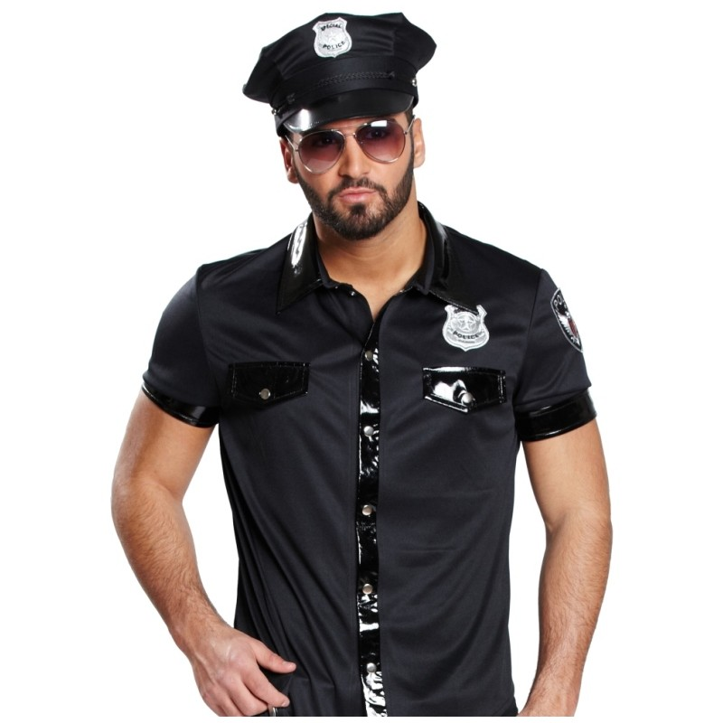 d guisement chemise policier homme sexy achat d guisements poolicier. Black Bedroom Furniture Sets. Home Design Ideas