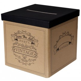Tirelire vintage kraft naturel carton 20 cm