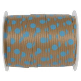 Bolduc kraft naturel à pois turquoise 10 mm x 25 M