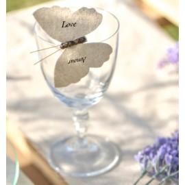 Papillons coton naturel sur pince les 4