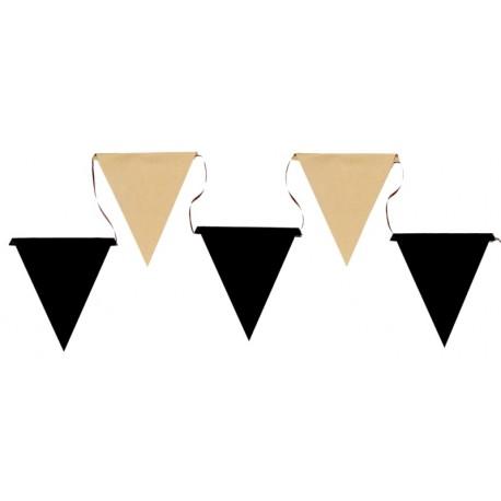Guirlande fanions kraft et noir 5 M