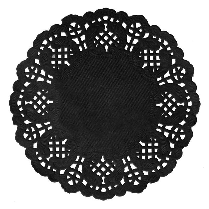 Napperons dentelle papier ardoise noir 10 cm les 10 for Set de table papier pour restaurant