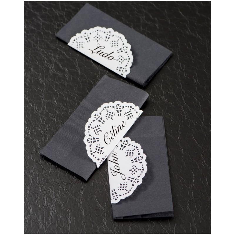 napperons dentelle papier ardoise noir 10 cm les 10. Black Bedroom Furniture Sets. Home Design Ideas
