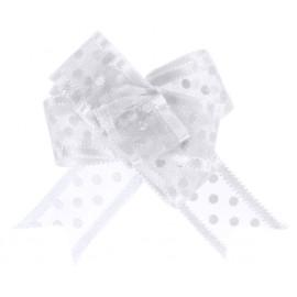 Mini noeuds organdi blanc à pois 16 mm les 5
