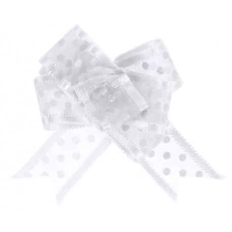 Mini noeud organdi blanc à pois 16 mm les 5