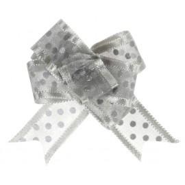 Mini noeuds organdi argent à pois 16 mm les 5