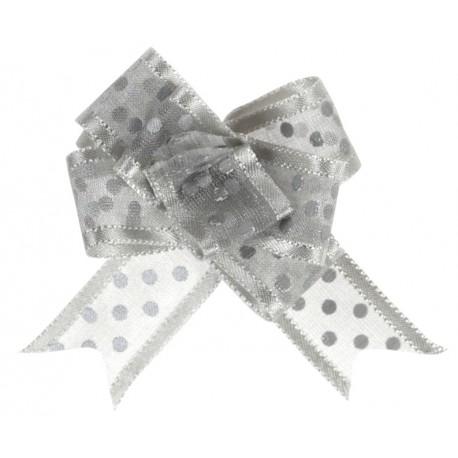 Mini noeud organdi argent à pois 16 mm les 5
