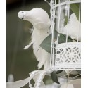 Colombe blanche avec plumes sur pince 15 cm