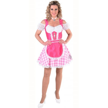 Déguisement tyrolienne rose femme luxe