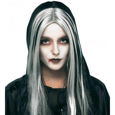 Perruque longue noire et blanche femme