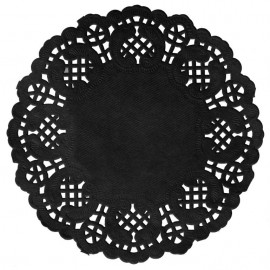Napperons dentelle papier ardoise (noir) 35 cm les 10