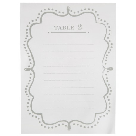 Plan de table vintage blanc de 1 à 10 les 10