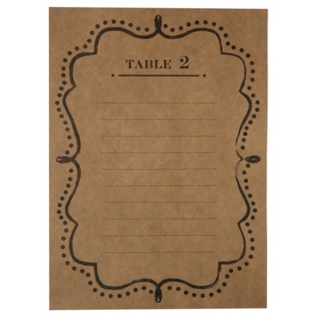 Plan de table vintage kraft de 1 à 10 les 10