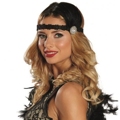 Bandeau charleston noir femme avec plumes