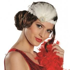 Bandeau charleston blanc femme avec plumes
