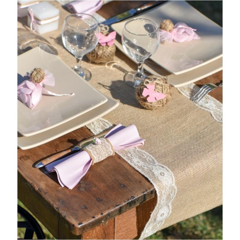 Chemin de table toile de jute dentelle ivoire 2 m - Chemin de table toile de jute et dentelle ...