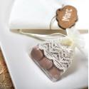 Sachets à dragées organdi ivoire dentelle ivoire les 4
