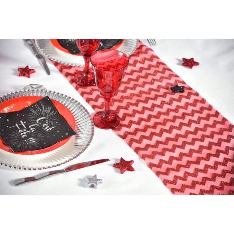 Chemin de table chevron rouge paillet achat chemin de table f tes - Chemin de table chevron ...