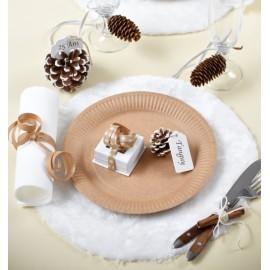 Set de table fausse fourrure blanche 34 cm les 4