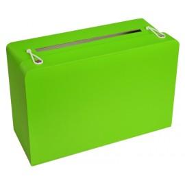 Tirelire valise verte en carton 24 cm
