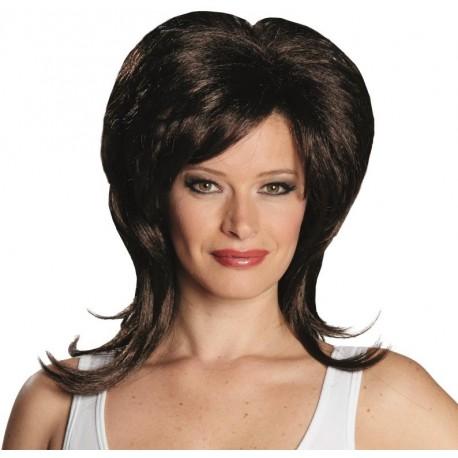 Perruque brune mi-longue femme