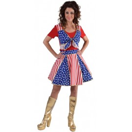 Déguisement pompom girl femme Stars and Stripes luxe