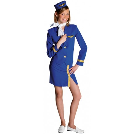 Déguisement hôtesse de l'air bleu cobalt ado fille luxe